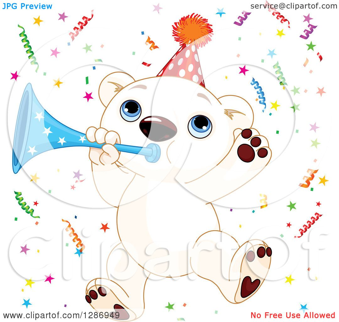 Clipart Of A Cute Polar Bear Cub Jumping With Horn And Party Confetti