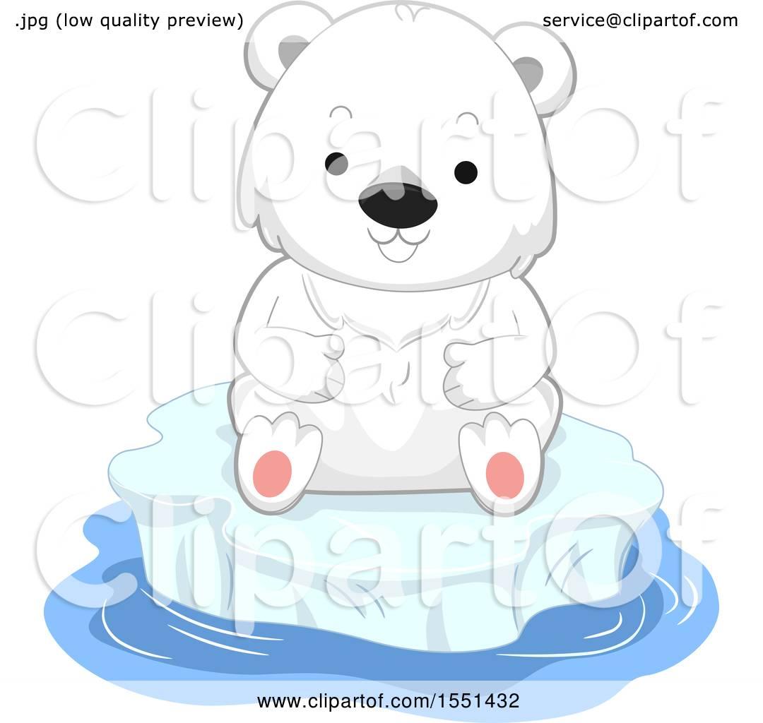 Clipart of a Cute Polar Bear Cub on an Iceberg - Royalty Free Vector Illustration by ...
