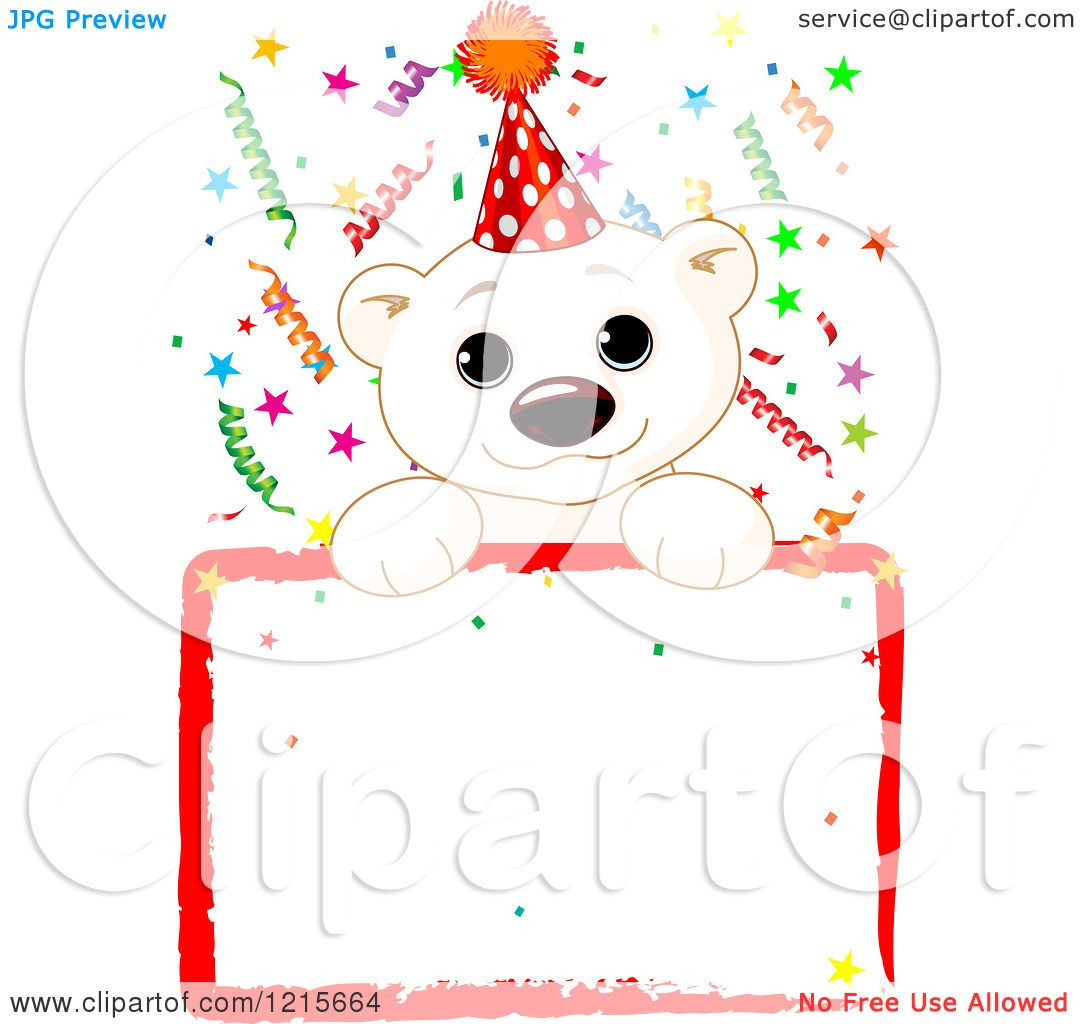 Clipart of a Cute Polar Bear Cub Wearing a Party Hat over a Blank Sign with Colorful ...