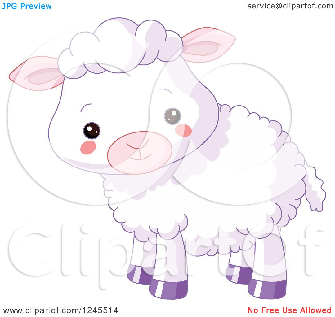 Clipart of a Cute Purple Baby Lamb - Royalty Free Vector ... for Baby Lamb Clipart  166kxo