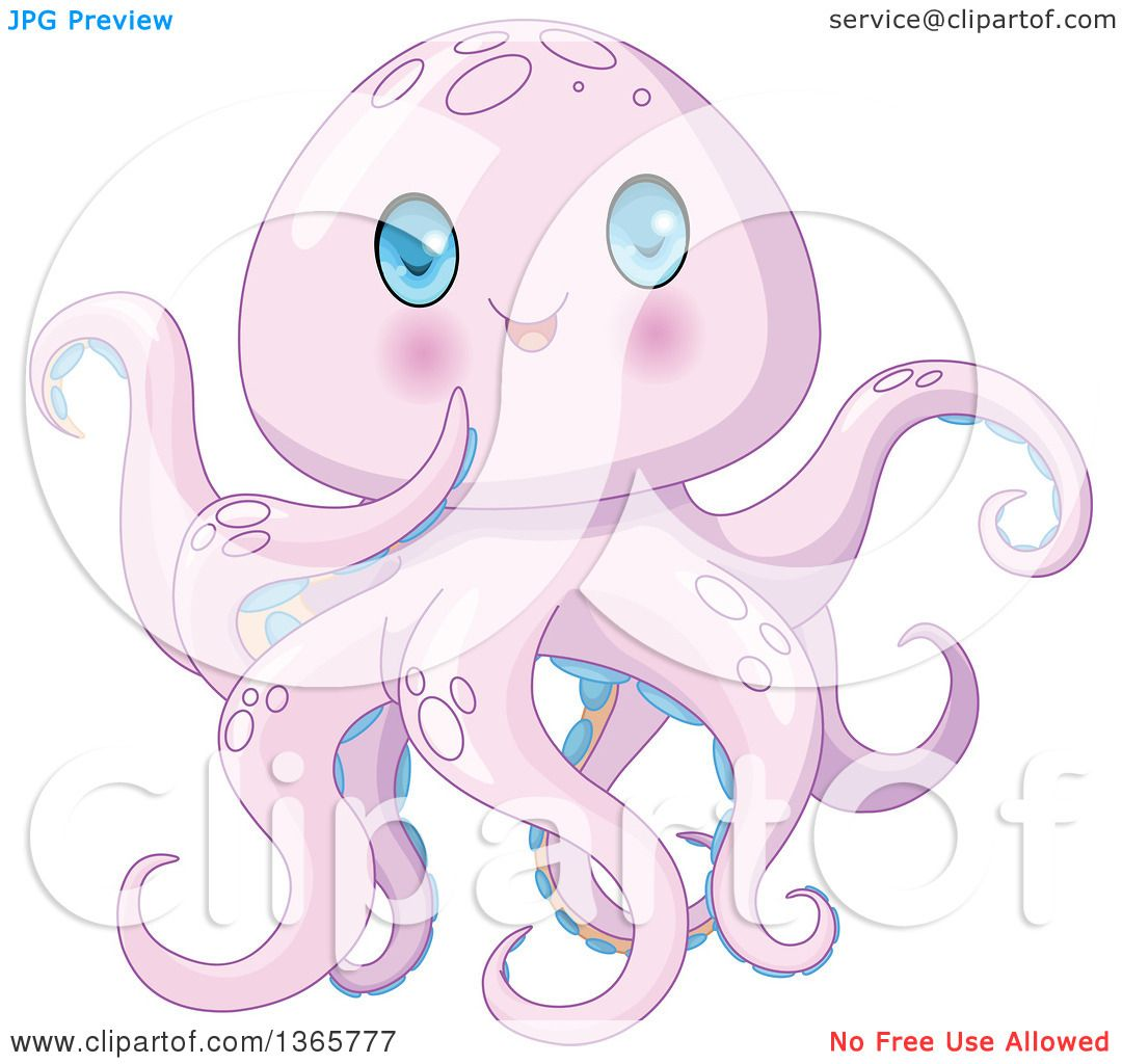 Clipart of a Cute Purple Baby Octopus with Blue Eyes ...