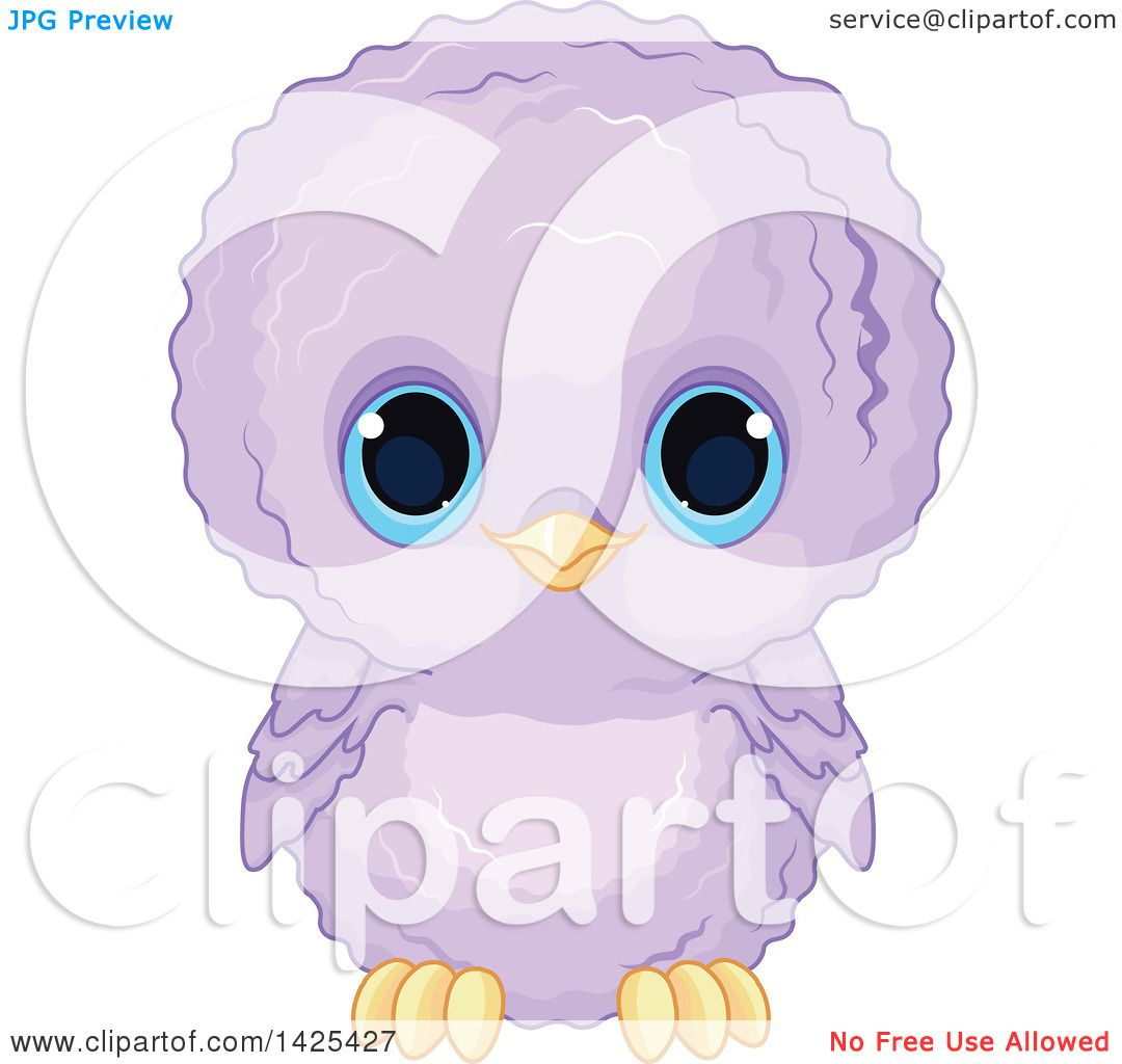 Clipart of a Cute Purple Baby Owl