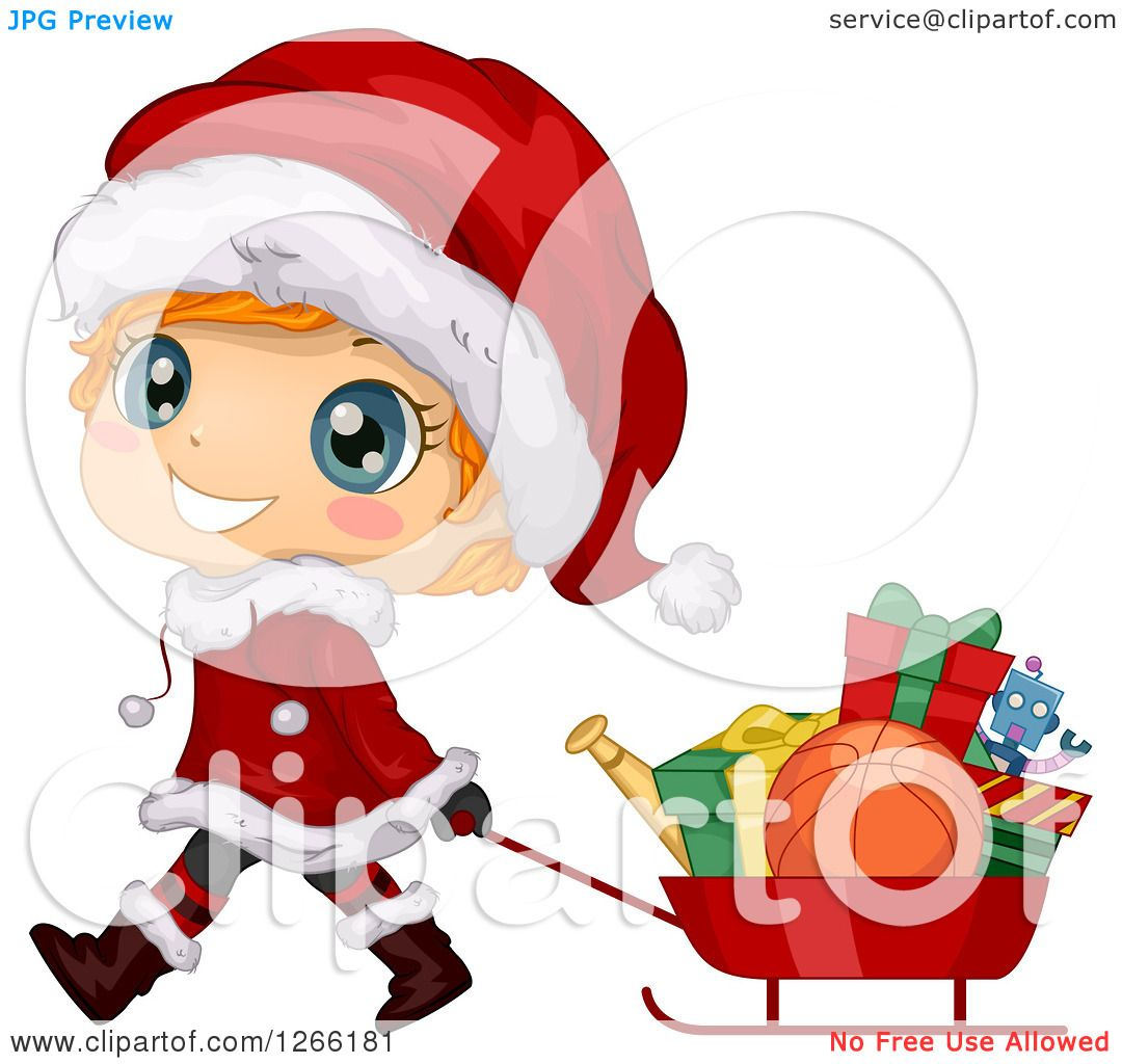 Clipart Of A Cute Red Haired White Toddler Boy In Santa Suit Pulling Christmas Gifts Sled