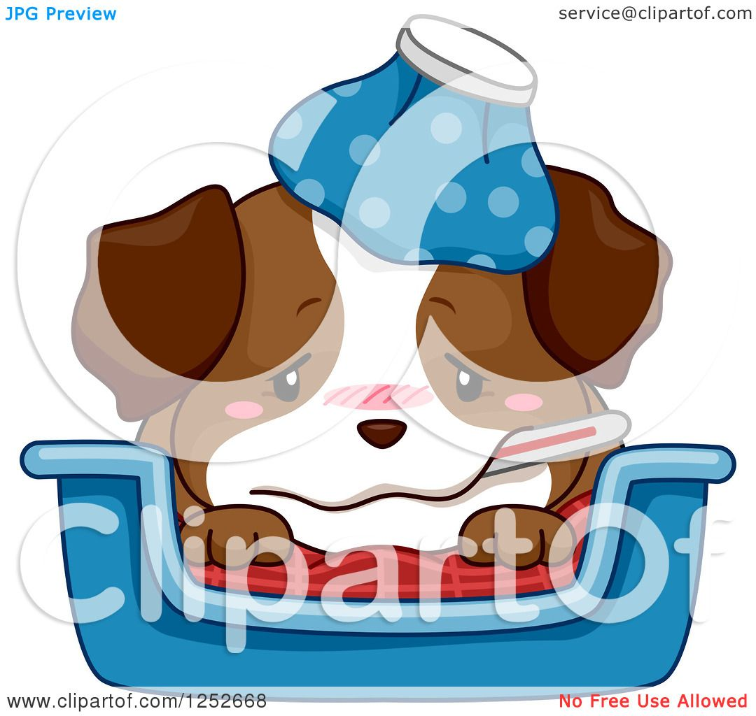 Clipart of a Cute Sick Puppy Dog with a Thermometer and ...