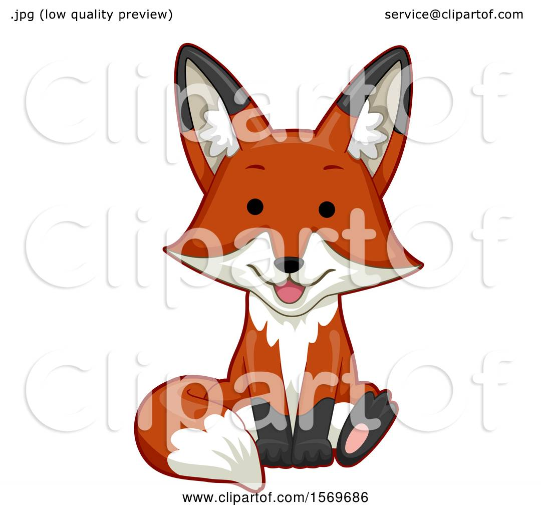 Clipart Of A Cute Sitting Fox Royalty Free Vector Illustration By Bnp Design Studio 1569686