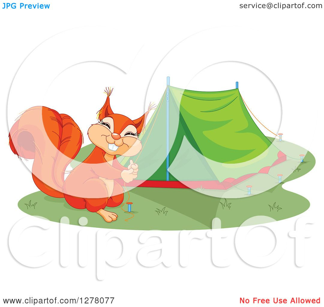 Clipart Of A Cute Squirrel Smiling And Setting Up Camping Tent