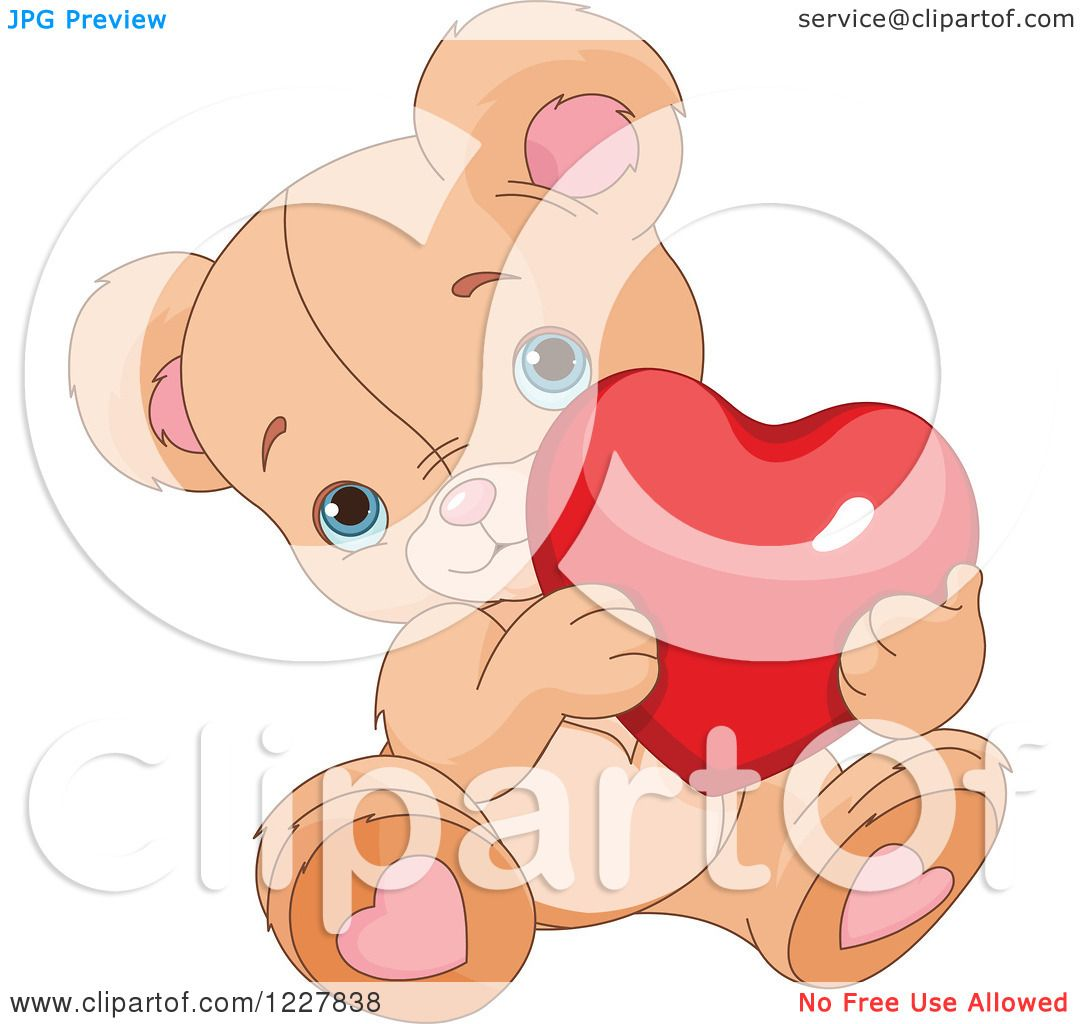 Clipart of a Cute Valentine Teddy Bear Holding a Red Heart ...