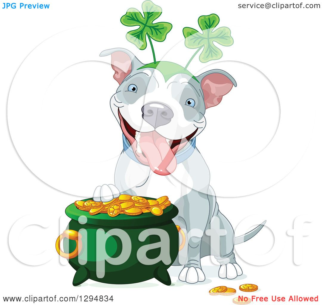 Clipart of a Cute White and Gray Pitbull St Patricks Day