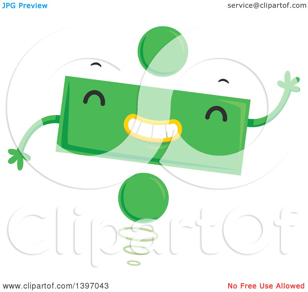 Clipart of a Dancing Green Monster Division Addition Symbol ...