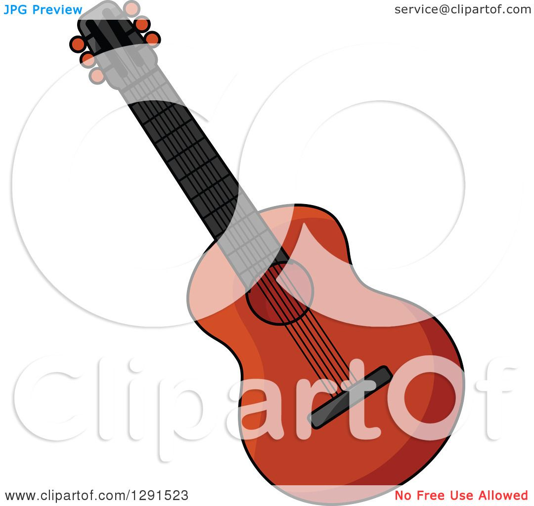 Clipart of a Dark Acoustic Guitar