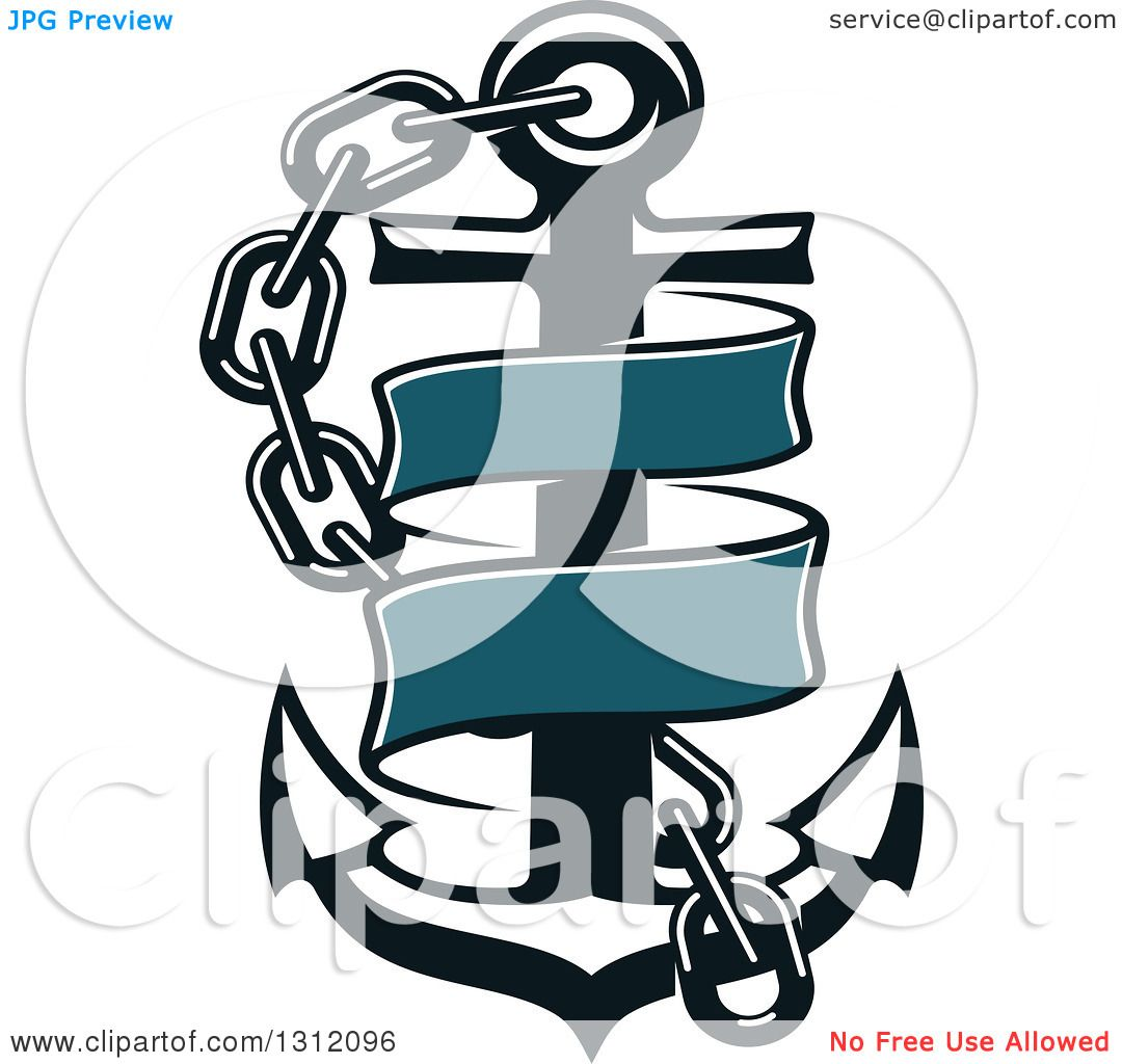 Clipart of a Dark Blue Anchor with a Chain and Ribbon Banner ...