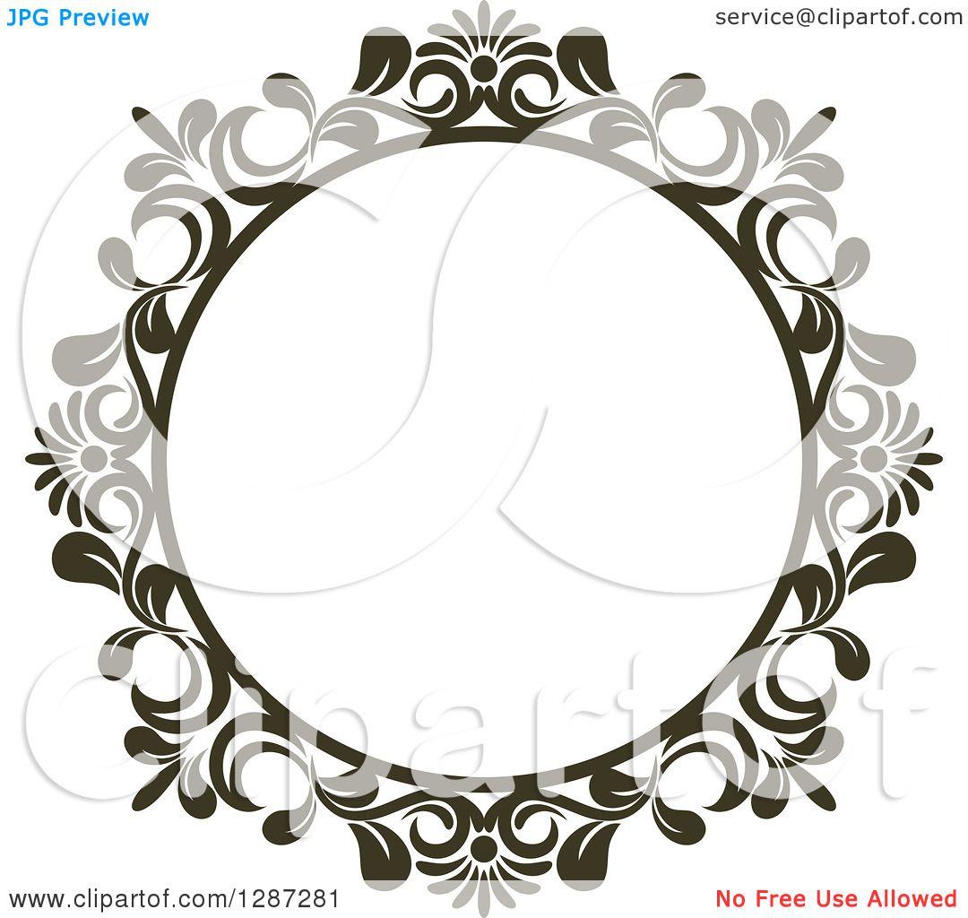 Clipart Of A Dark Brown Round Ornate Vintage Floral Frame 3