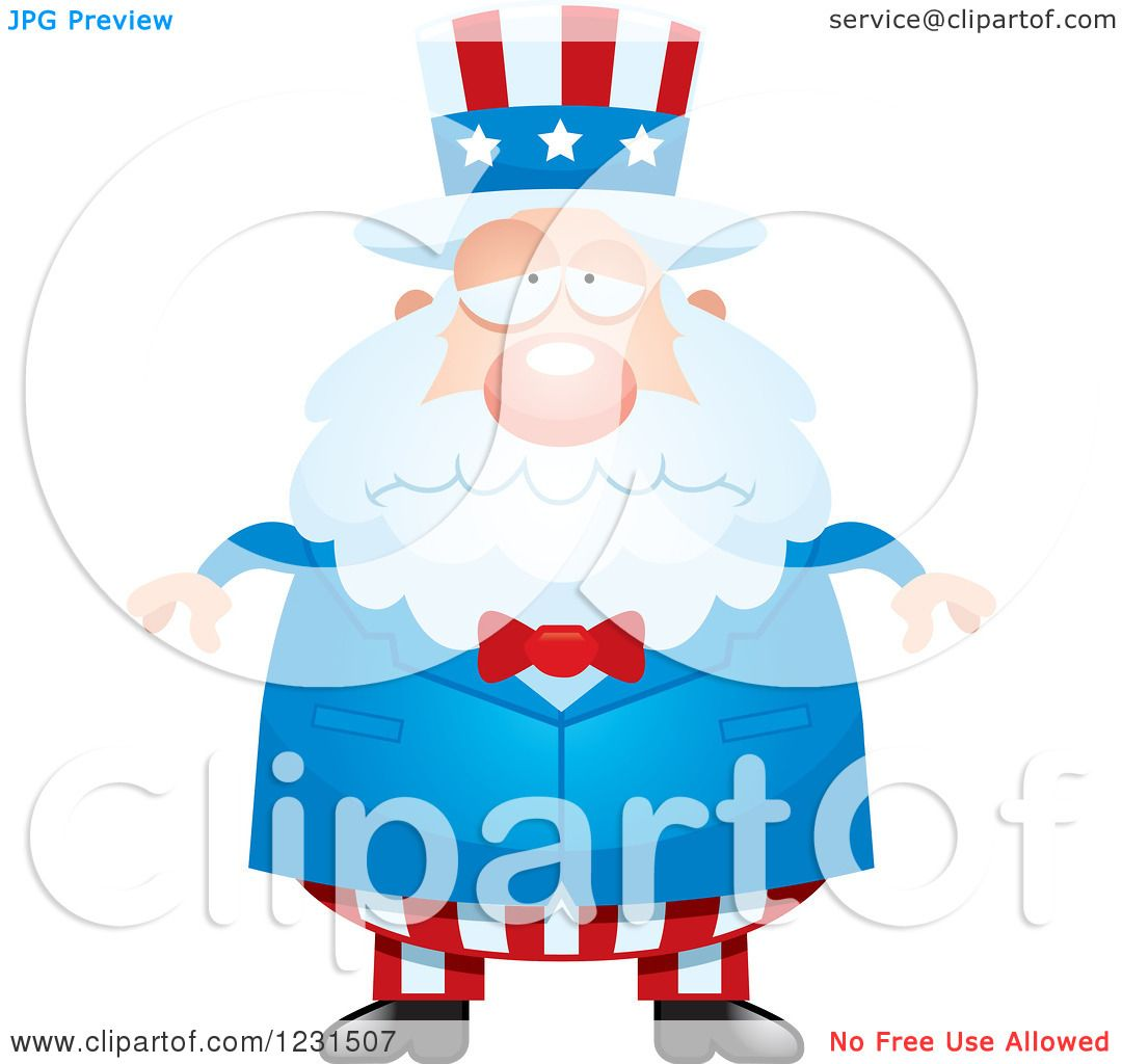 Clipart of a Depressed Uncle Sam - Royalty Free Vector ...