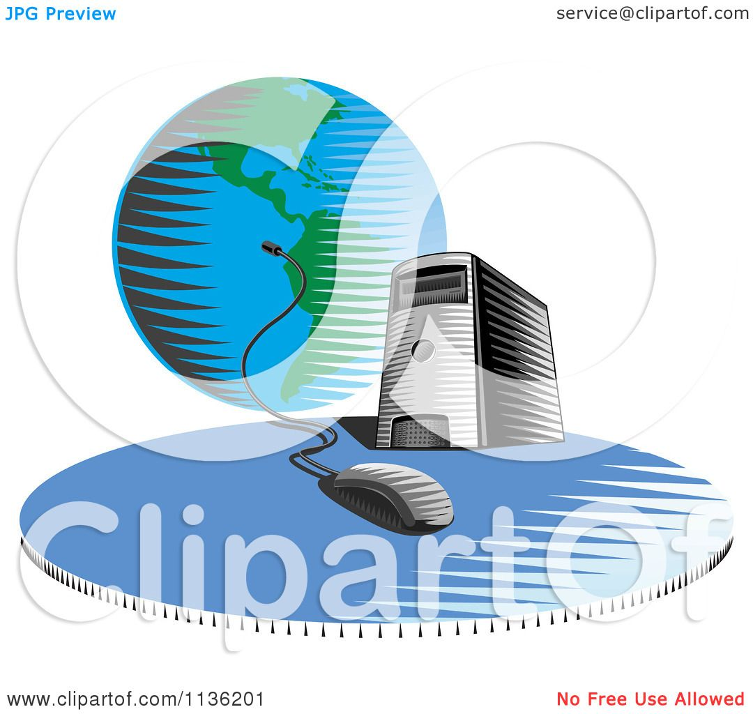 Clipart of a desktop computer server tower connected a globe clipart of a desktop computer server tower connected a globe royalty free vector illustration by patrimonio ccuart Images