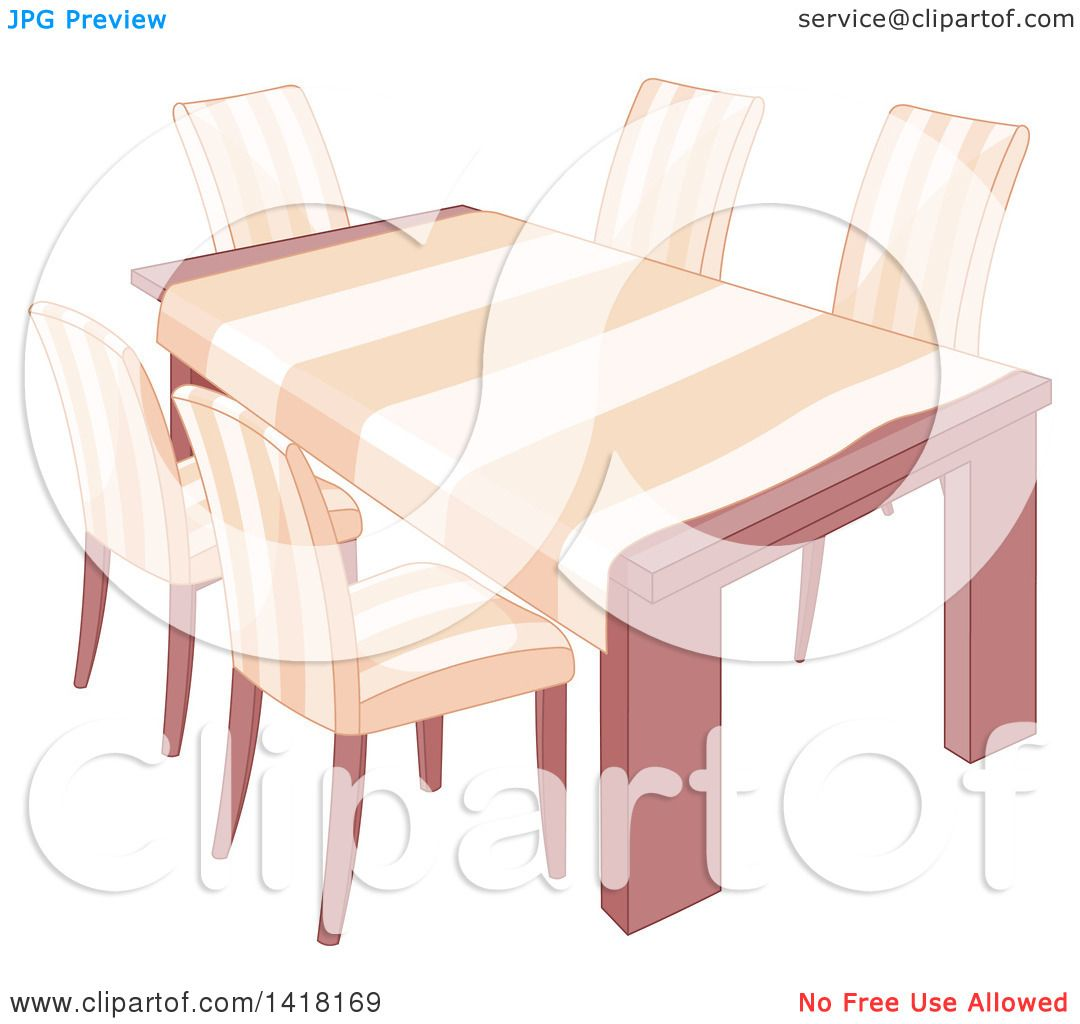Best Dining Table Illustrations Royalty Free Vector: Clipart Of A Dining Room Table With A Cloth And Matching