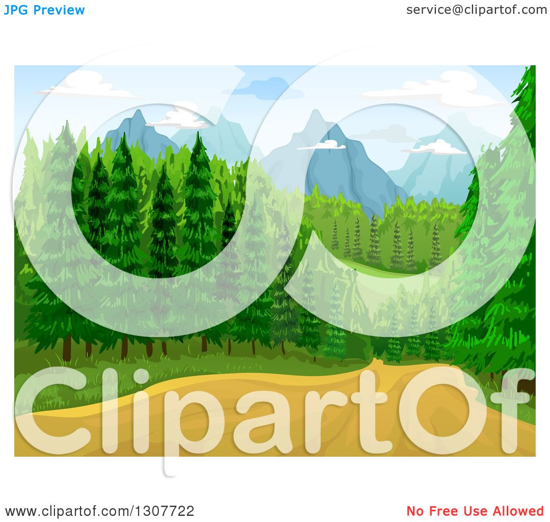 Clipart Of A Dirt Road Through A Forest With Mountains In