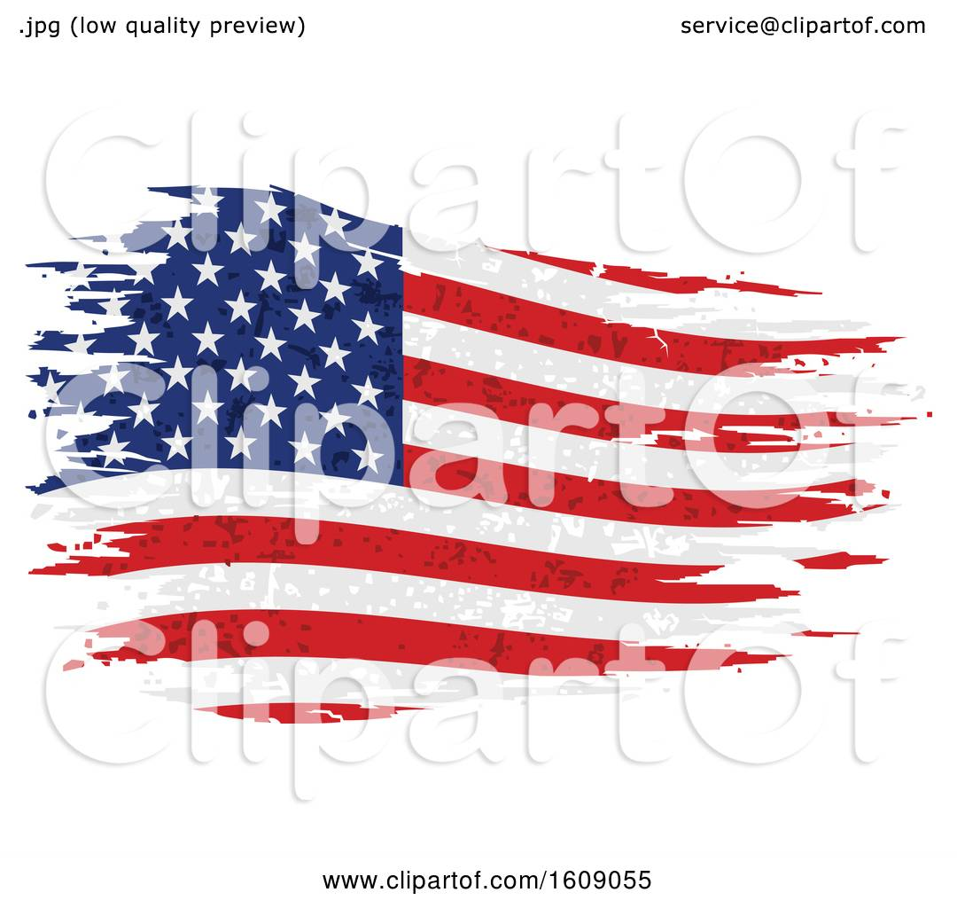 Clipart of a Distressed and Torn American Flag - Royalty