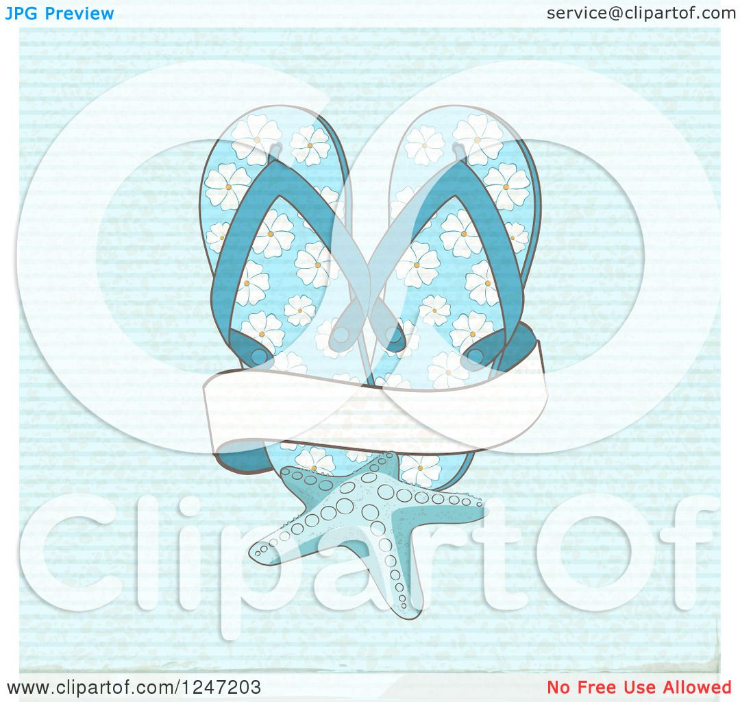 ebdc6770cde461 Clipart Of A Distressed Blue Background With Flip Flops A Starfish And A  Banner Royalty Free