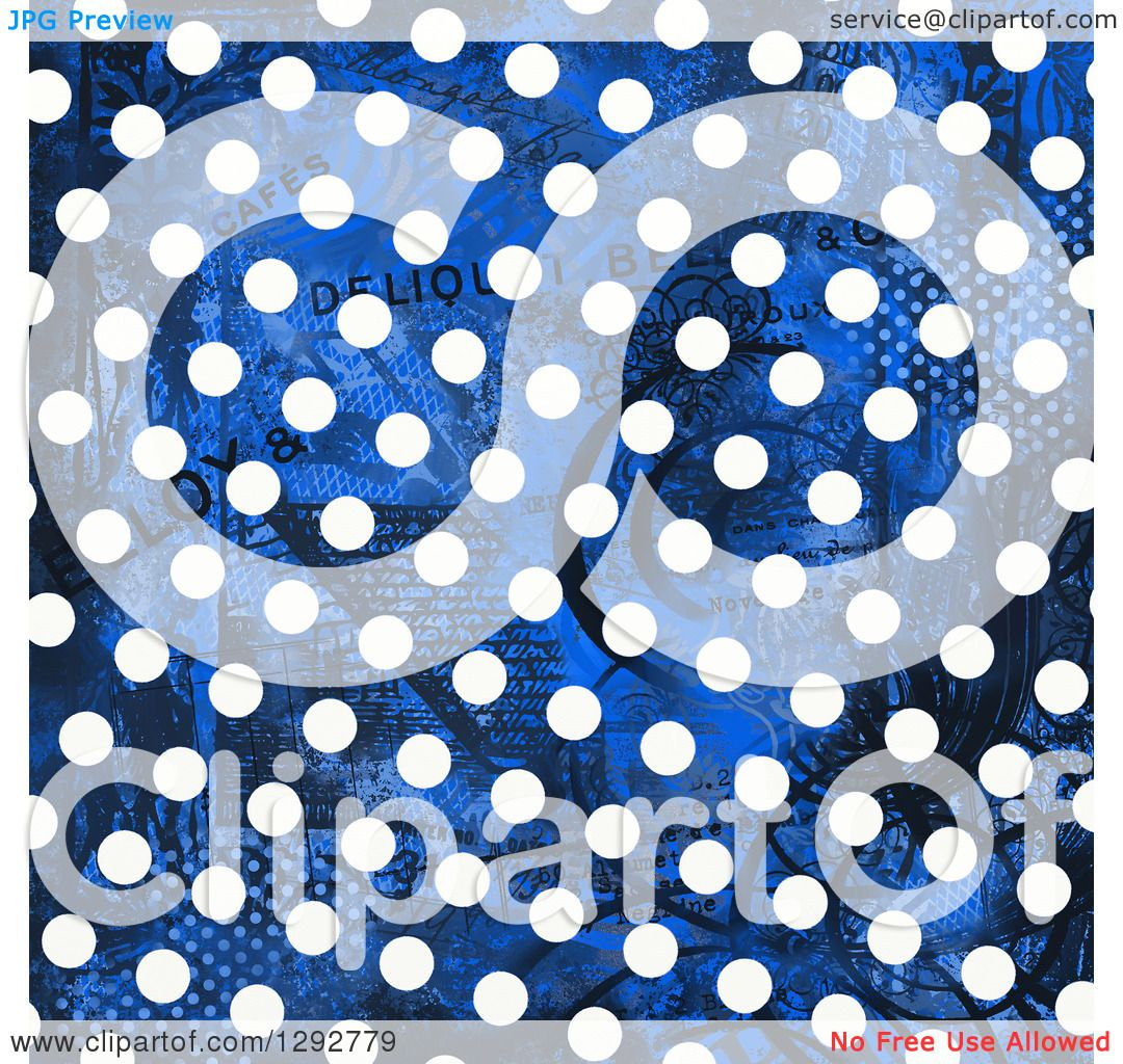 Clipart Of A Distressed Blue Background With White Polka