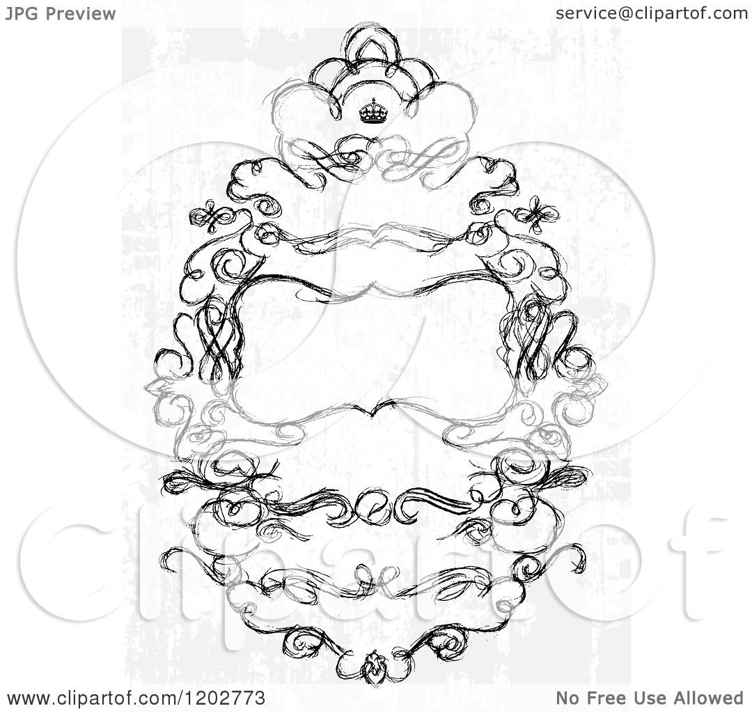 Clipart of a Distressed Wedding Invitation with Text Space a Crown ...