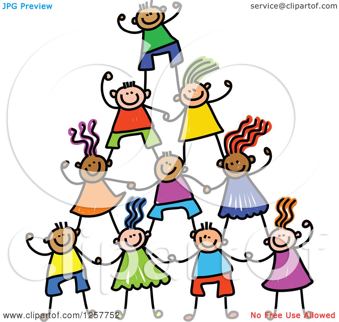 Clipart of a Diverse Group of Cheering Stick Children in a ...