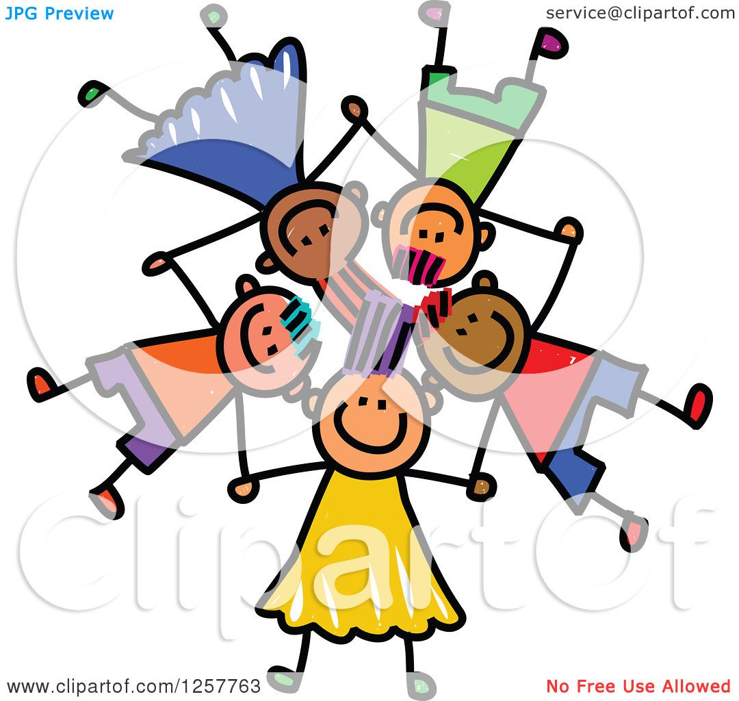 clipart of a diverse group of stick children laying down in a star rh clipartof com All Halloween Pictures Clip Art Happy Person Clip Art