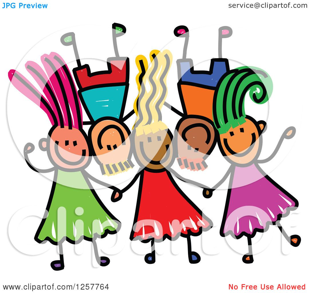 Clipart of a Diverse Group of Stick Children Laying down ...