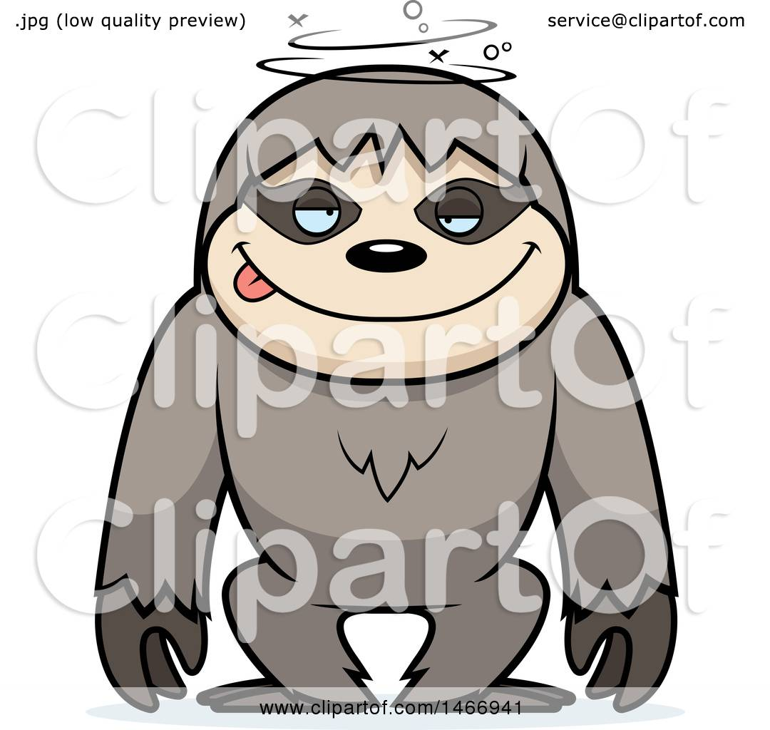 clipart of a dizzy or drunk sloth royalty free vector illustration rh clipartof com sloth clipart cute sloth clipart black and white