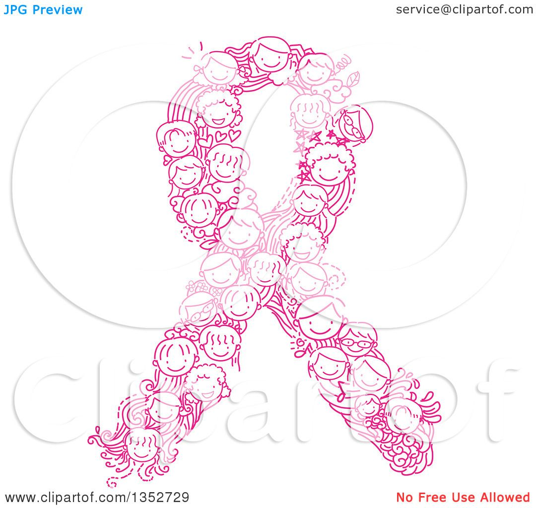 clipart of a doodled pink cancer awareness ribbon made of children