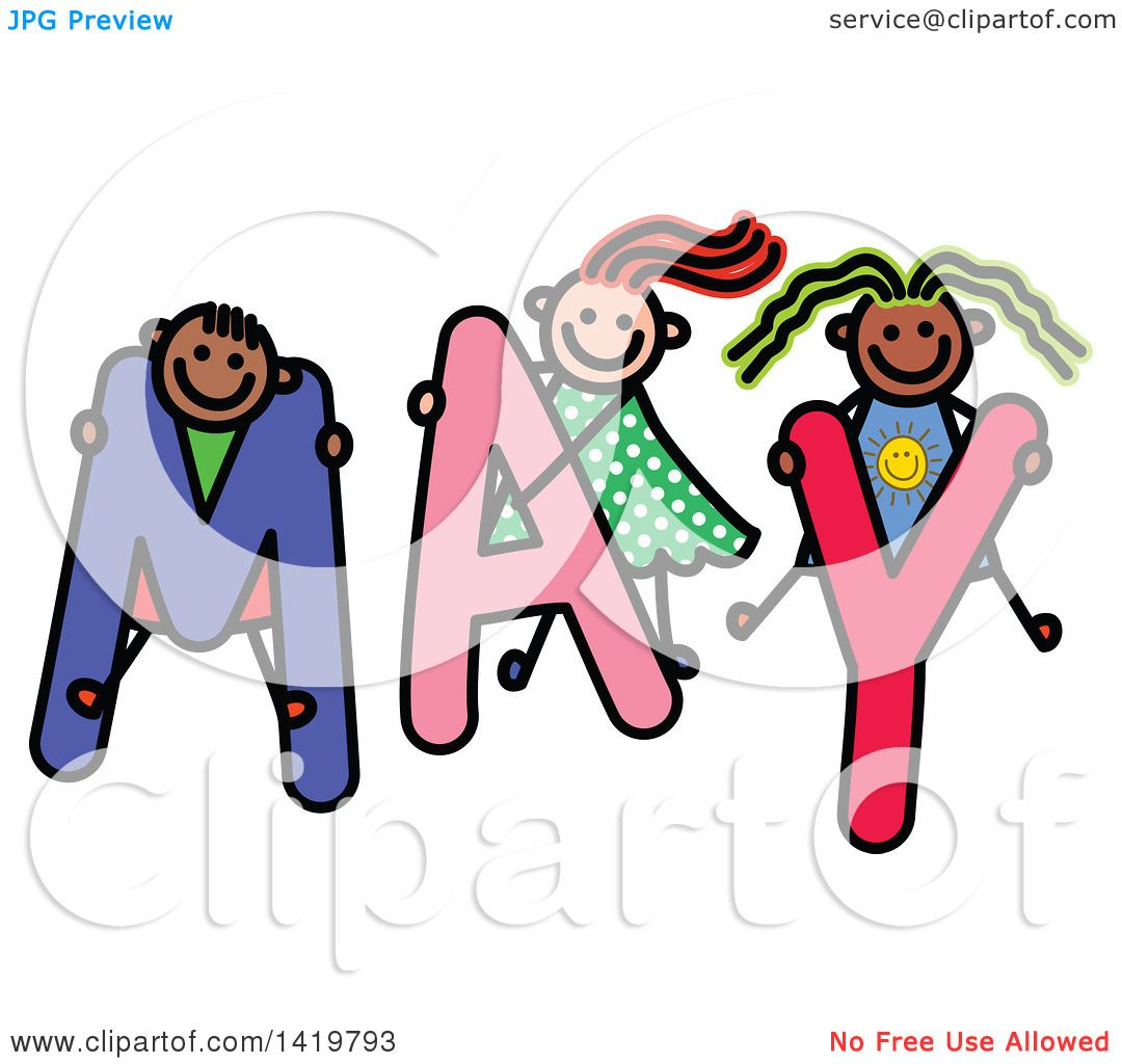 clipart of a doodled sketch of children playing on the word may rh clipartof com clip art may the 4th be with you clipart may month