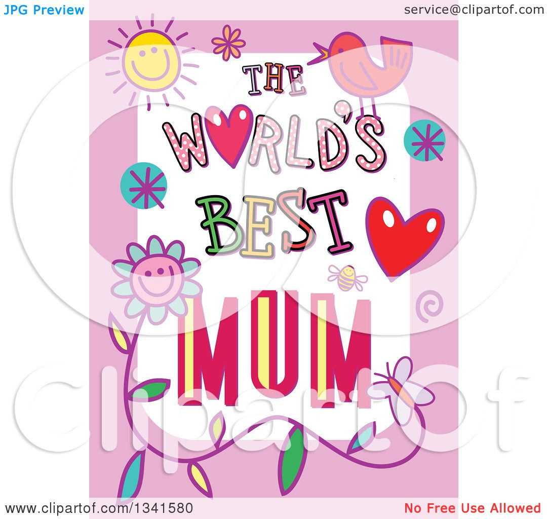 3b6b6a11c6 Clipart of a Doodled the Worlds Best Mum Occasion Design over Purple - Royalty  Free Vector