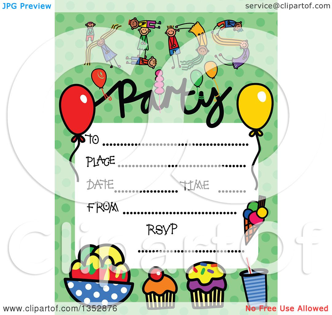 Clipart of a Doodled Toddler Art Sketched Birthday Party ...