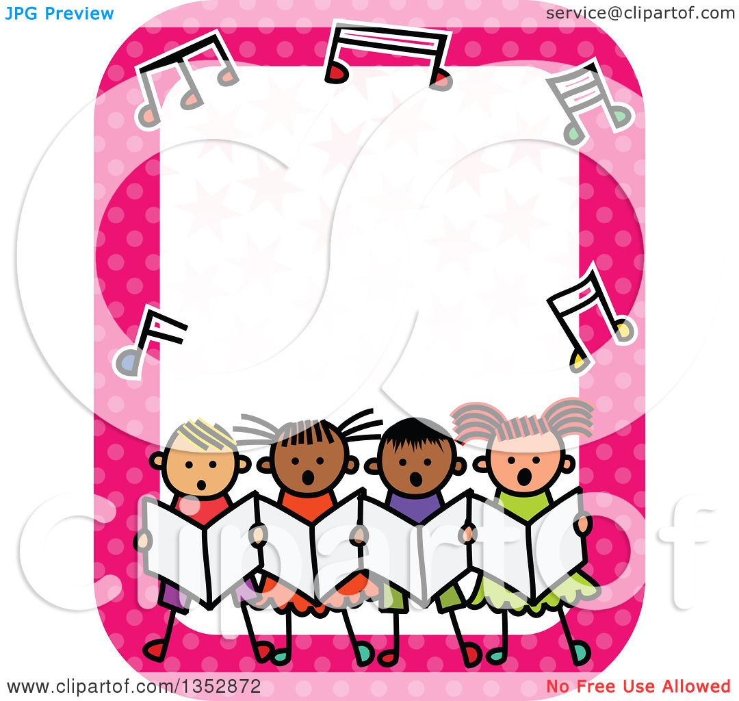 clipart of a doodled toddler art sketched group of children singing rh clipartof com music notes border clipart music border clipart