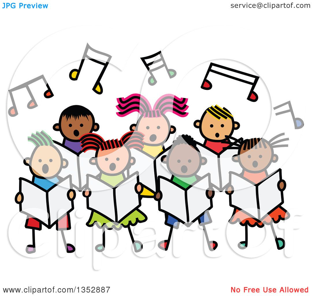 clipart of a doodled toddler art sketched group of children