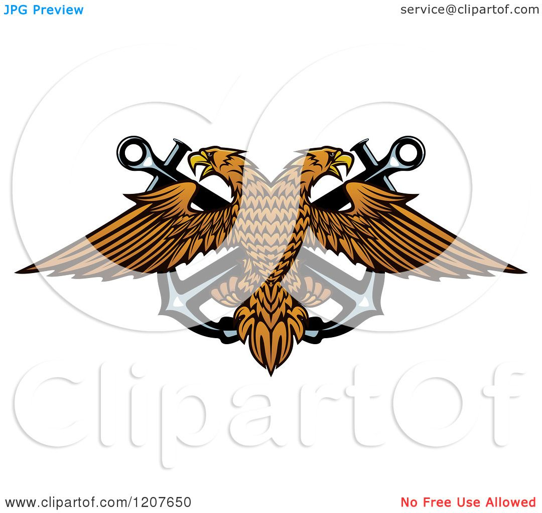 Clipart Of A Double Headed Eagle Over Crossed Anchors 2
