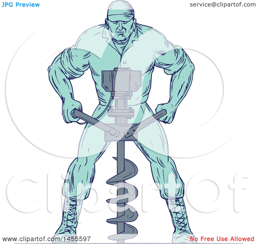 Clipart Of A Drawing Sketched Styled Construction Worker Operating An Auger Drill