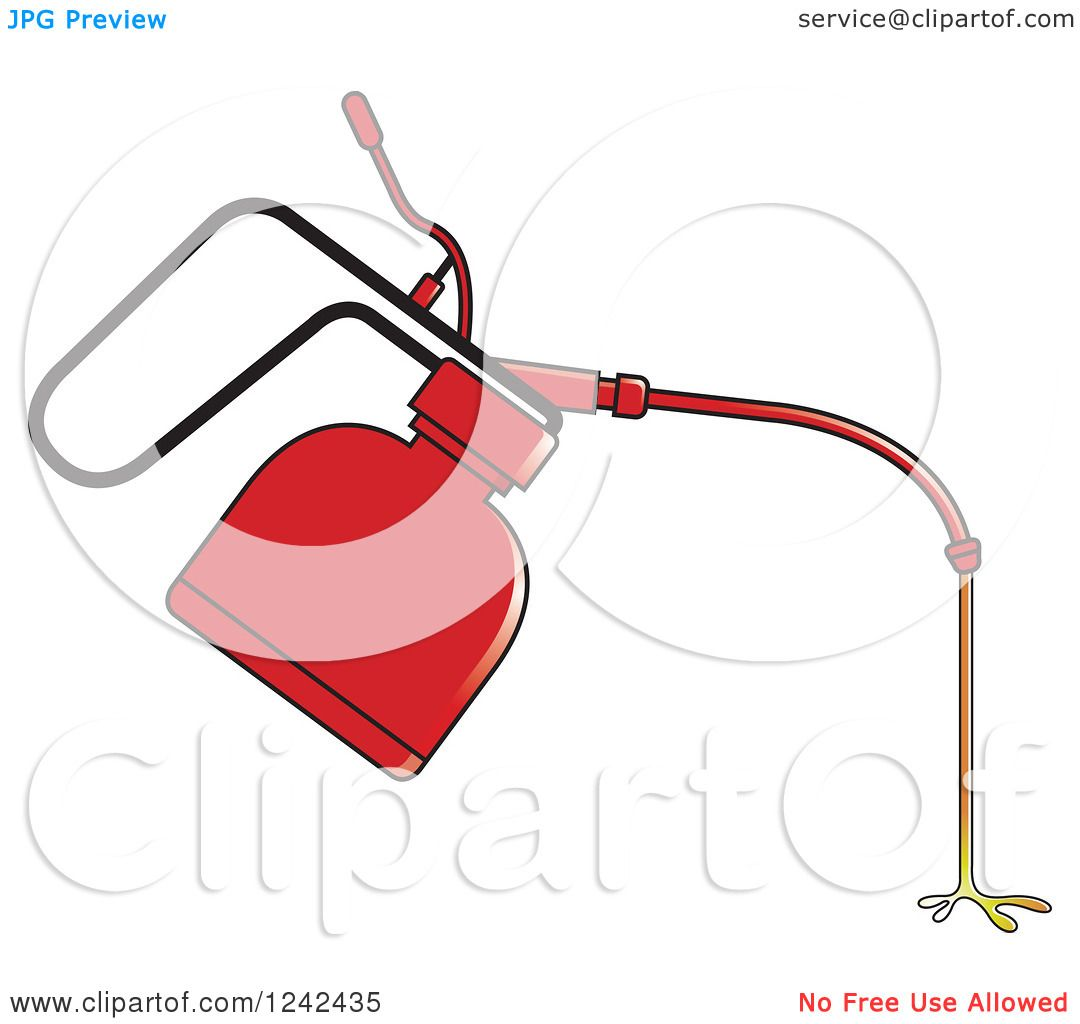 Clipart of a Dripping Red Oil Can - Royalty Free Vector ...