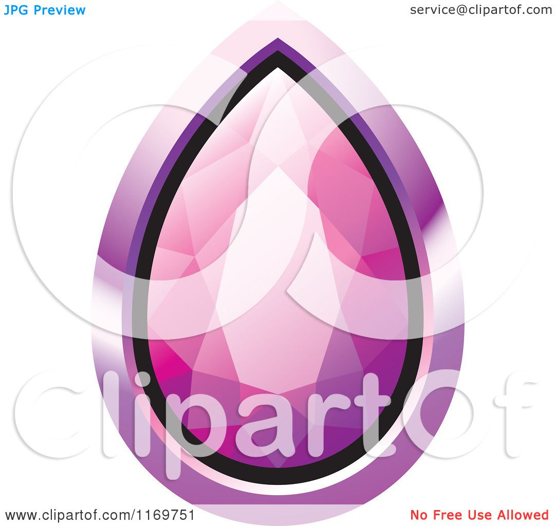 Clipart of a Droplet Pink Diamond or Gemstone with a Purple Frame ...