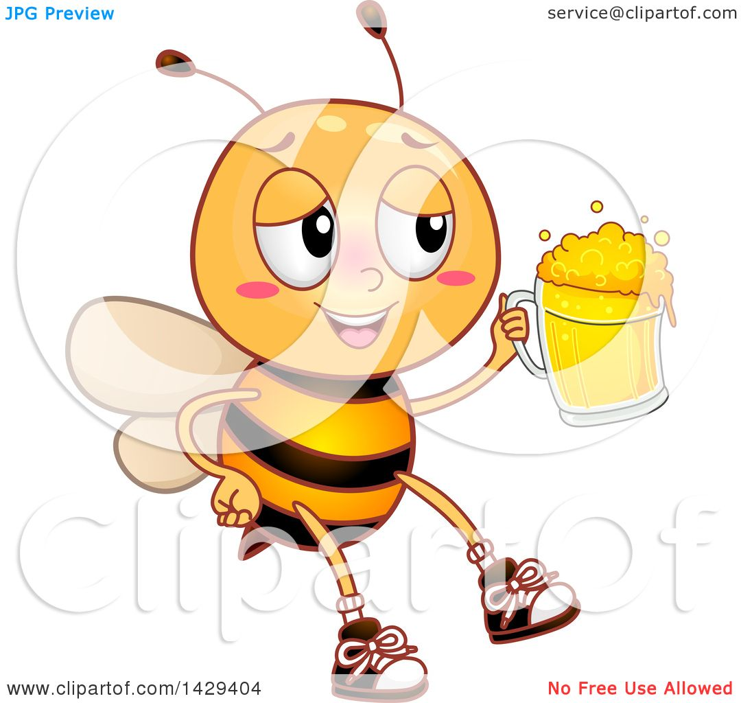 Clipart Of A Drunk Bee Holding A Beer Mug Royalty Free