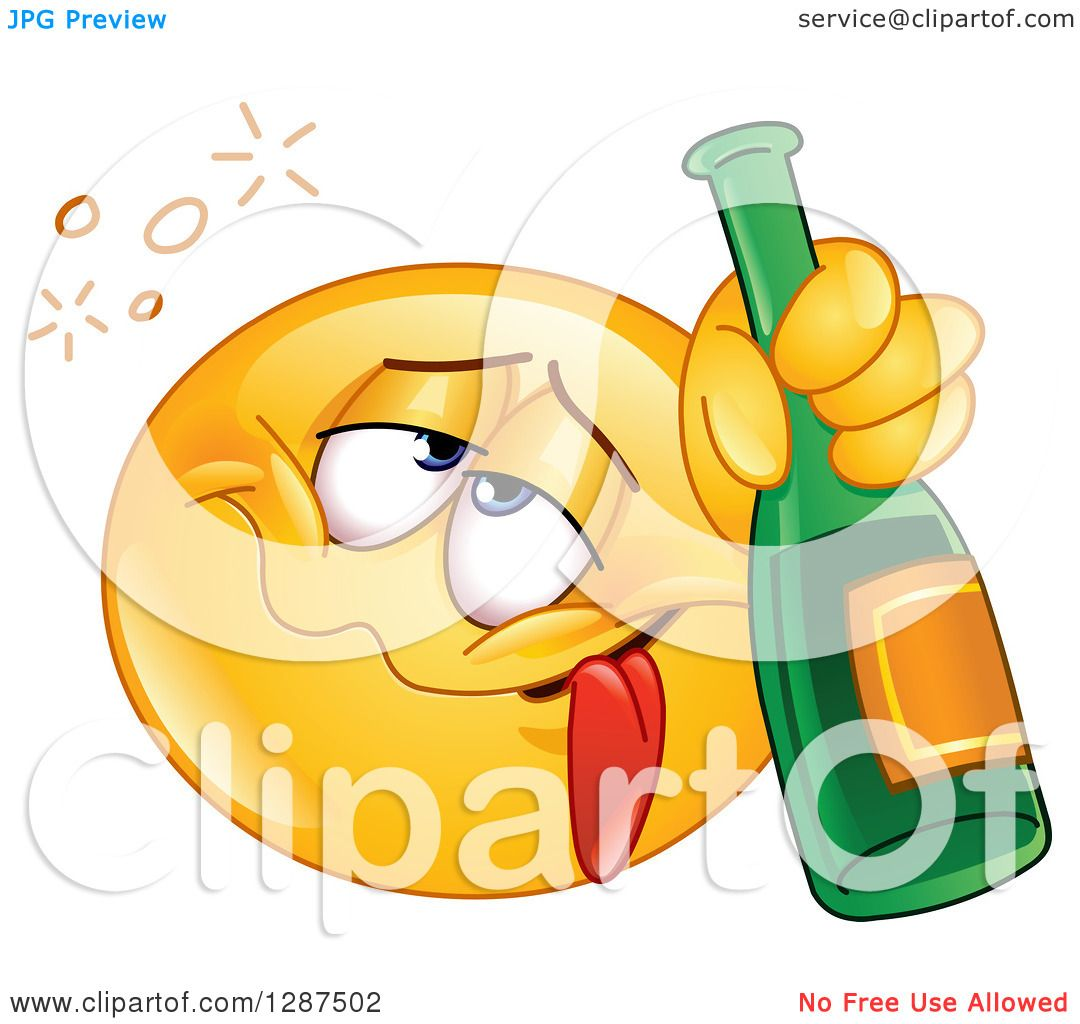 Clipart of a Drunk Yellow Emoticon Smiley Face Holding a ...