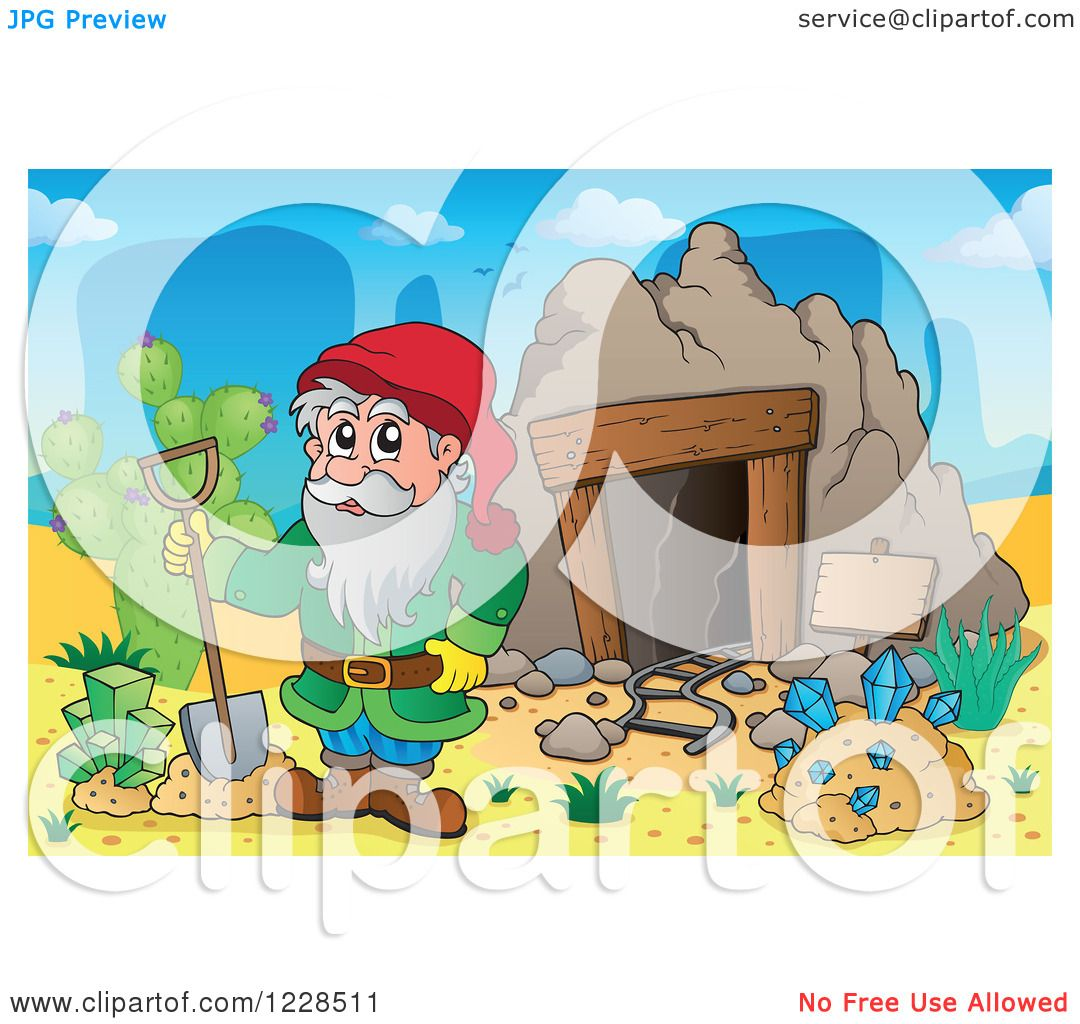 Clipart of a Dwarf with a Shovel and Diamonds at a Mining Cave - Royalty Free Vector ...