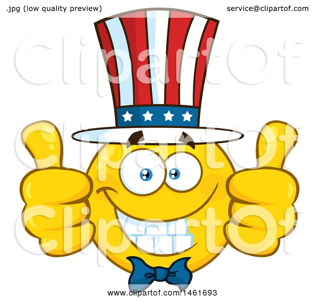 clipart of a emoji smiley face uncle sam giving two thumbs up rh clipartof com Thumbs Up Smiley Black Woman Thumbs Up