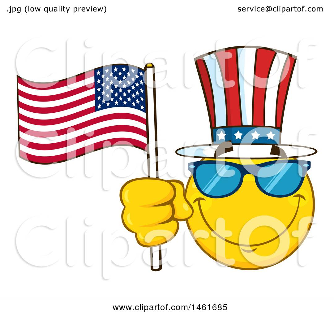 Clipart of a Emoji Smiley Face Uncle Sam Waving an American Flag