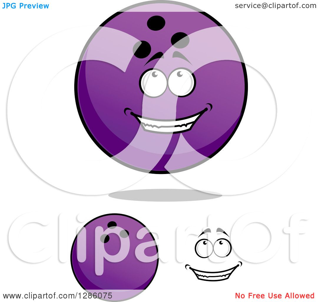 Clipart Of A Face And Purple Bowling Balls