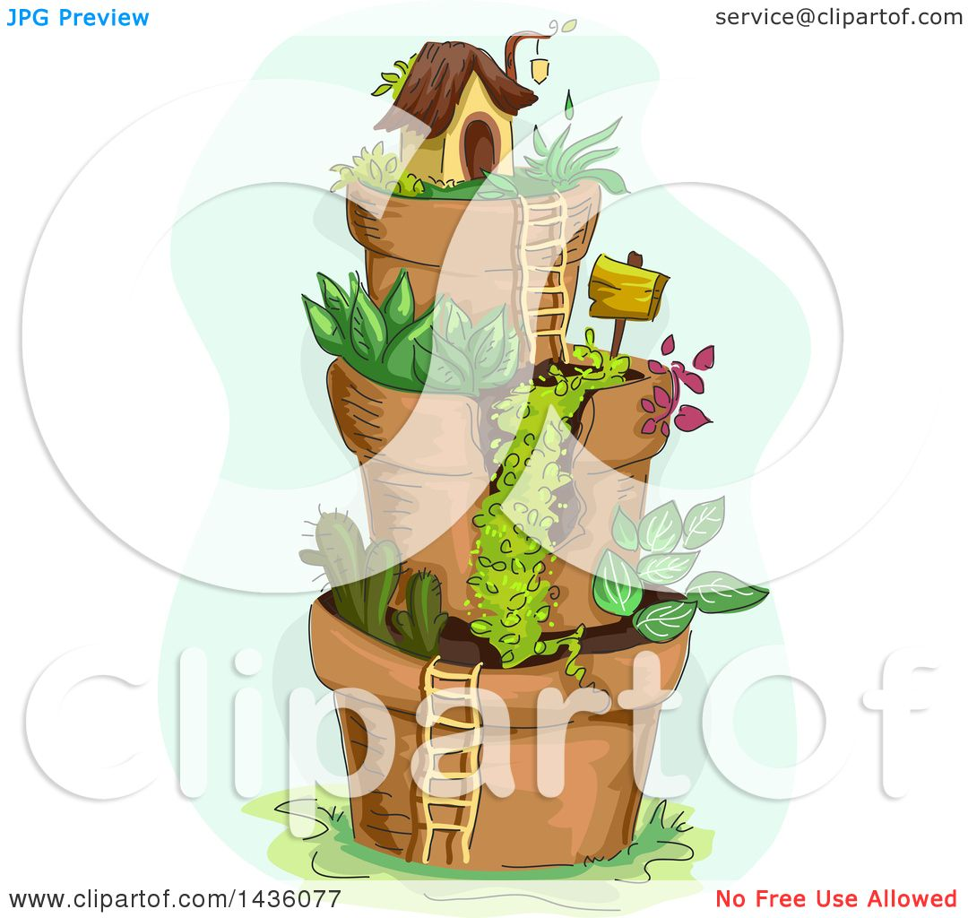 Clipart of a Fairy Garden Village of Stacked Pots