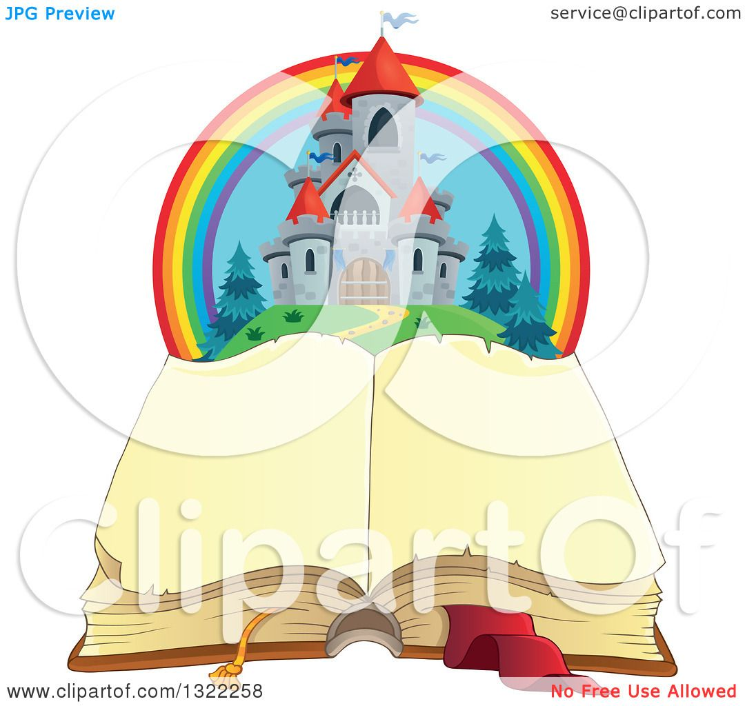 Clipart Of A Fairy Tale Castle And Rainbow Over An Open