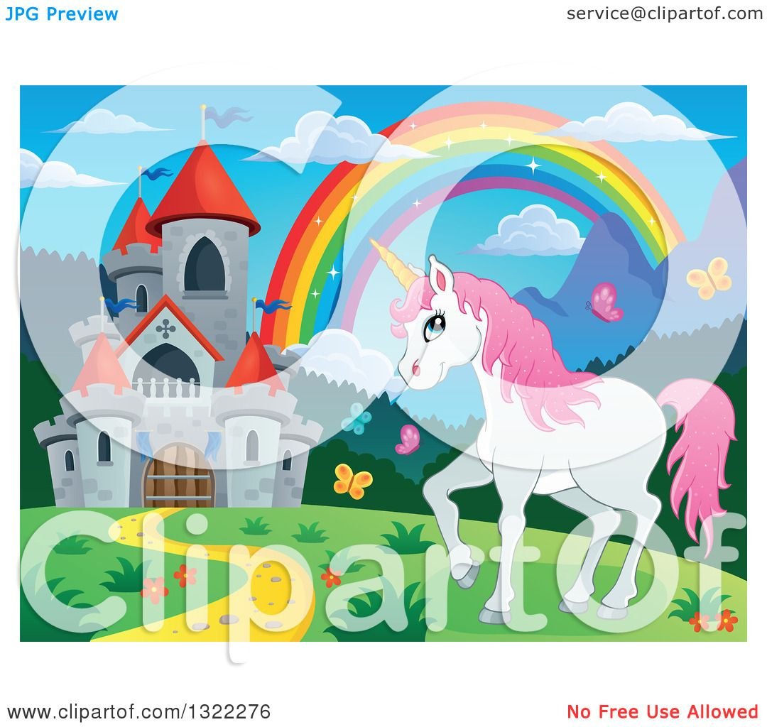 Clipart Of A Fairy Tale Castle Unicorn And Rainbow In A