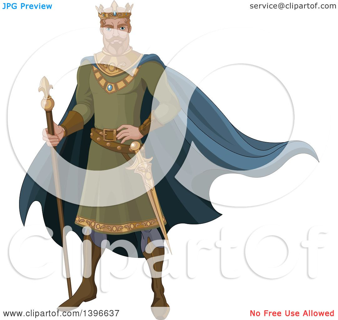 Clipart Of A Fairy Tale Medieval Blond Caucasian King