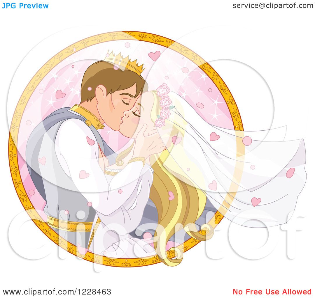 Clipart Of A Fairy Tale Wedding Prince And Princess Couple