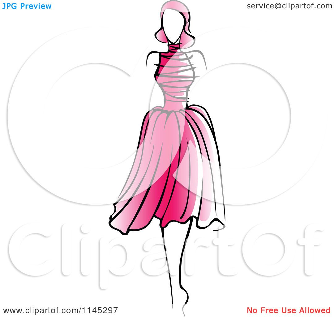 clipart of a fashion model in a pink dress 2 royalty free fashion girl clipart free fashion girl clipart